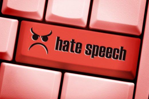 Computer key with the label Hate speech, hatred talking on social networks, Computertaste mit der Aufschrift Hate Speech, Hassreden in sozialen Netzwerken, Image: 332587626, License: Rights-managed, Restrictions: , Model Release: no, Credit line: Profimedia, Alamy